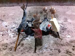 囲炉裏で炭焼き(田楽味噌が美味かった!)